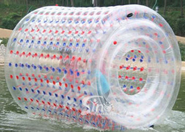 Commercial kids TPU inflatable water zorb roller with colorful reinforce dots